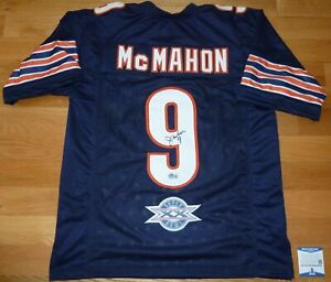 BECKETT JIM MCMAHON SIGNED BLUE JERSEY WITH SUPER BOWL XX PATCH SIZE XL BB40165