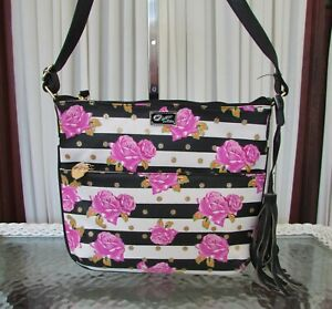 Luv Betsey Johnson Crossbody Bag Purse Floral Roses Striped Glitter Dots NWT