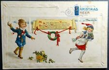 Postcard Early Embossed Colorful - Christmas Cheer  Children throwing Snow ball