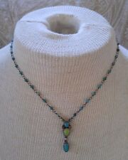 Vintage Necklace wire wrap sterling silver turquoise coral gaspeite artisan