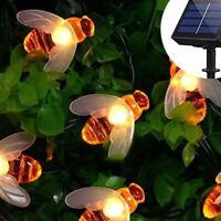 Solar String 20 LED / 30LED Lights Honey Bee Shape Solar Powered Garden Yard L