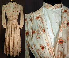 Victorian Orange Poppy Flower Cotton Calico Print Wrapper Workwear Dress Vtg