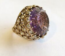 Antique Vintage 14k Lg Amethyst Ring With Diamonds