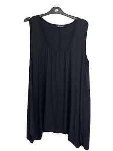 New ladies Lagenlook Black Vest Tunic Top size 16 - 18