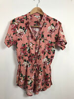 Mileage Women's Pink Short Sleeve Floral Cinch Waist Blouse Top Large V Neck
