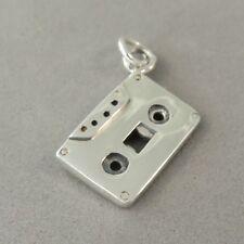 .925 Sterling Silver 3-D CASSETTE TAPE CHARM NEW Music Deck Pendant 925 MC40