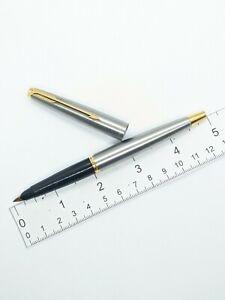 Vtg vg steel flighter Parker 45 fountain pen - 14k f nib -  USA