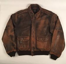 Vintage 1987 AVIREX Brown Leather USAF Type A-2 Flight Bomber Motorcycle Jacket