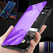 Case For Samsung Galaxy S7 S8 S9 S10 Smart View Mirror Leather Flip Stand Cover