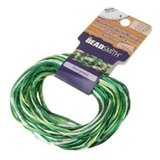 Satin Cords 1mm Kumihimo Rattail Evergreen Mix 12 yards (D32/8)