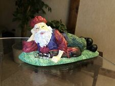 ADORABLE Figurine--Golfing Santa Relaxing on Golf Bags-- CBK Limited, EUC!