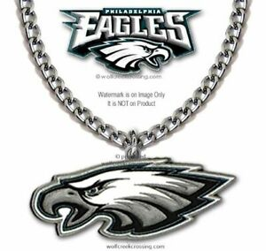 PHILADELPHIA EAGLES NECKLACE NFL FOOTBALL STAINLESS STEEL CHAIN - FREE SHIP LG1'