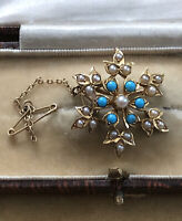 Antique Vintage 18ct Gold Snowflake Seed Pearl Pendant Brooch