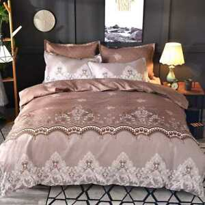 Simple Luxury King Size Bedding Sets Floral Jacquard  Bed Linen Duvet Cover Set