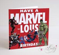 MARVEL COMICS HULK THOR IRON MAN SPIDERMAN Birthday Card - Boys Mens Son