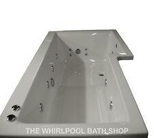 Supercast Designer L Shaped Whirlpool Shower Bath | 17 Jet Chrome Jets | RH