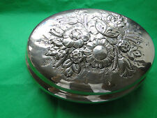 Large Oval Sterling Silver 800 Box -Chased With Flowers Made In Italy C.1950