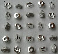 1ST CLASS P&P 20 (10 pairs) SILVER BUTTERFLY EARRING BACKS STOPPER EAR NUTS