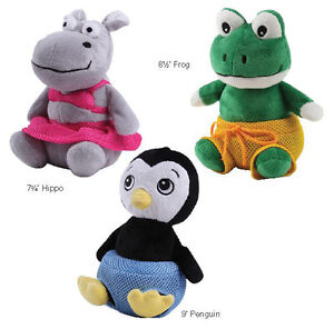 Grriggles Bathing Beauties Dog Toy Squeaker Plush Squeaky Toys Frog Penguin Hipp