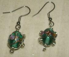 Handmade Emerald Glass and Wire Beads Earrings 1946