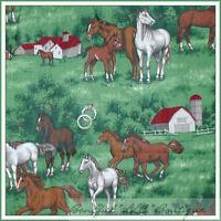 BonEful Fabric FQ Cotton Green Tree VTG Horse Pony Colt Farm VTG Scenic Red Barn