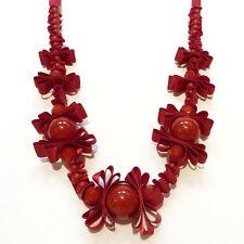 COLLIER SAUTOIR - idée cadeau ou soirée - ruban de satin perles ROUGE ajustable