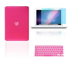 "3 in 1 Rubberized HOT PINK Case for Macbook White 13"" + Key Cover +  LCD Screen"
