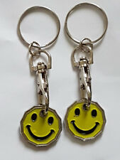 2 XSMILEY Design New Shape One Pound £1 Coin Token Keyring Shopping Trolley Gift