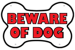 "Beware of Dog Warning Sign - Unique Bone Shaped Design - 14"" x 9"" Red and White"