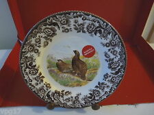 """SPODE WOODLAND 7 3/4""""  TEA PLATES NEW SLIGHTLY IMPERFECT RED GROUSE"""
