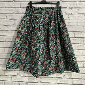 Vintage A Line Floral Midi Skirt - Size 18 - Green and Purple - Cottagecore