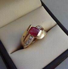 B.H. POLISHED 14K YELLOW GOLD 1.00 TCW RUBY GEMSTONE BYPASS RING W/ DIAMONDS