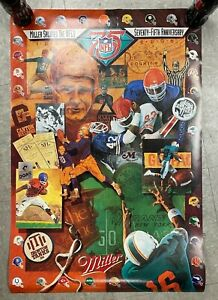 "1994 NFL FOOTBALL MILLER BEER SALUTES 75TH ANNIVERSARY POSTER 20X30"" M6"