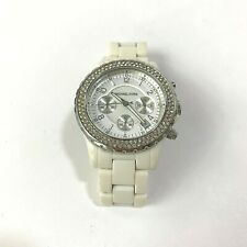 Womens Michael Kors Rhinestone Watch Chronometer White Analog Fashion with Box