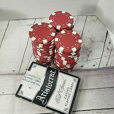 VTG 60 pcs Casino RED Poker Chips+Aristocrat Casino Playing Cards Ls Vegas Style