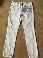 NWT Vintage Reunion Women's Rewashed  Ripped Natural White Skinny Fit Jeans