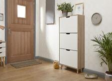 Designer Shoe Storage Cabinet 3 Tier White Oak Veneer Cabinet Solid Wood Legs
