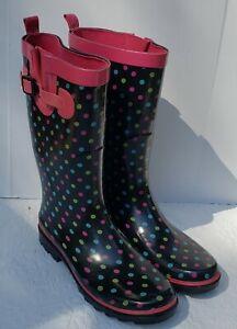 Womans Rain Boots Polka Dot Size 10 Mud Muck Bow Cute Black Multicolor