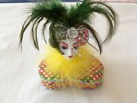Vintage Porcelain Clown Pierrot Mardi Gras Hand Painted Turban Green Feathers