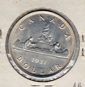 1937  Canadian Silver Dollar 80% Silver Lot #33 Canada Nice Coin you grade