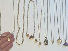American Legion Auxiliary necklace and other gold tone chains, pendants, rocks