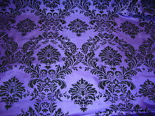 "25ft Purple Flocking Damask Aisle Runner Taffeta Fabric 58"" Flocked Velvet"