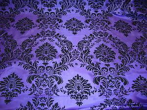 """100ft Purple Flocking Damask Aisle Runner Taffeta Fabric 58"""" Flocked Velvet"""