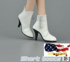 1/6 woman short leather white boots for phicen hot toys verycool kumik body❶USA❶