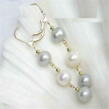 8-9mm White And Gray Mashup Pearl Earrings 14k Gold Hook Chic Real Natural
