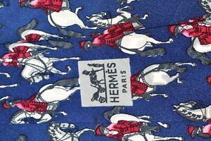 """AUTHENTIC VINTAGE HERMES PARIS 513 IA HORSES BLUE SILK NECK TIE 4.25"""" 56"""" FRANCE"""