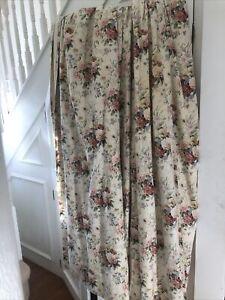 Pair Of Vintage Lined Floral Curtains With Pelmet 260 X 170cm Drop Each Panel