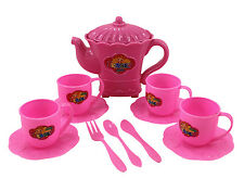 Tea Party Toy Set Pink Cups Kettle Saucers Utensils Doll Play and Pretend NIB