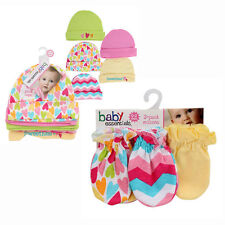 8-pieces Baby Essential Gift Set Caps Hats & Scratch Mittens 100% COTTON Pink NW