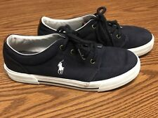Ralph Lauren Polo Hugo II Navy Blue White Pony Athletic Boat Shoe Youth Kids 5